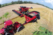 Catching combine, auger wagon, grain handling equipment