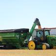 Parker 1354 Double Auger Grain Cart Dumping Into Semi