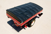 Grain handling equipment, dual auger chaser bin, hopper wagon